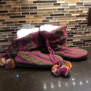 Muk Luks faux fur lined Pom Pom tall slippers